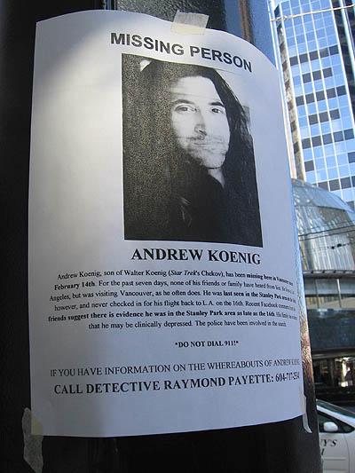 Andrew Koenig missing flyer